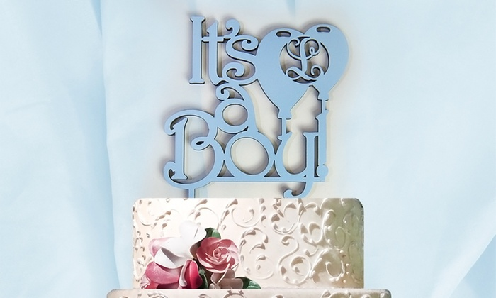 aMonogram Art: Natural or Painted Custom Cake Topper with Initial and Boy or Girl Announcement from aMonogram Art (50% Off)