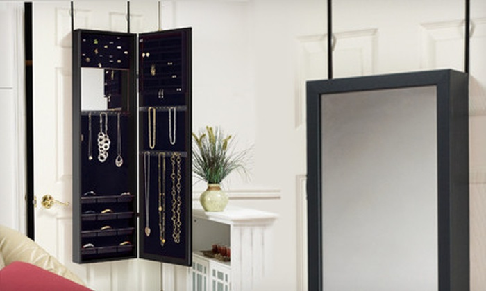 Plaza Astoria Hanging Jewelry Armoire : $99 for a Plaza Astoria Over-the-Door Jewelry Armoire in Black, Cherry, or White with Built-In Mirror ($149.95 List Price)