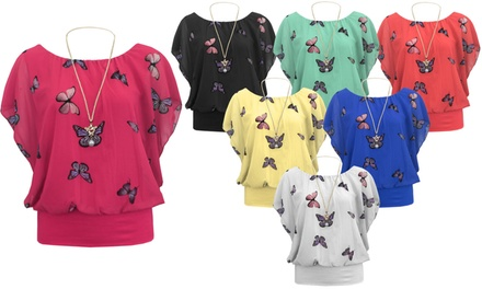 Butterfly Print Necklace Top