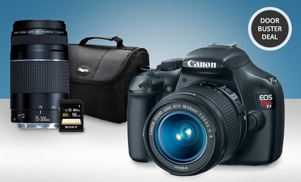 Canon EOS Rebel T3 Camera Two-Lens Bundle with 16GB Memory Card and Camera Bag. Free Returns.