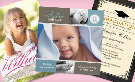 Custom Cards, Invitations, and Announcements from SimplytoImpress (55% Off). Two Options Available.