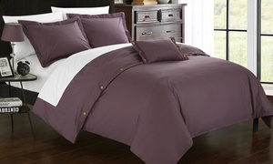 Cotton Duvet Cover Set with Button Closure Detail (3- or 4-Piece)