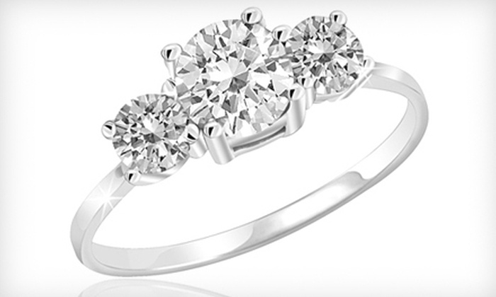 Three-Stone White-Topaz Ring: $18 for a Three-Stone White-Topaz and Sterling-Silver Ring ($79.99 Value). Shipping Included. Seven Sizes Available.