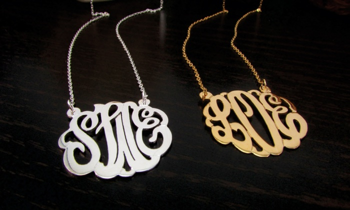 Personalized Monogram Jewelry: Personalized Monogram Bracelet or Necklace from NameJewelrySpot. Sterling Silver or Gold Vermeil Finish Available.