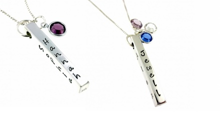 Hannah Design Family Names and Birthstone Bar Necklace