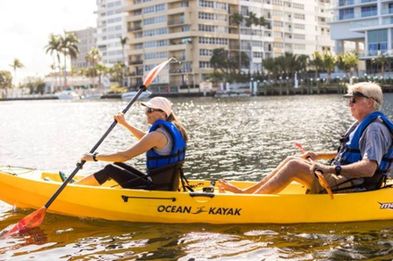 Three-Hour or Full-Day Single- or Tandem-Kayak Rental at Blue Moon Outdoor Center (Up to 42% Off)
