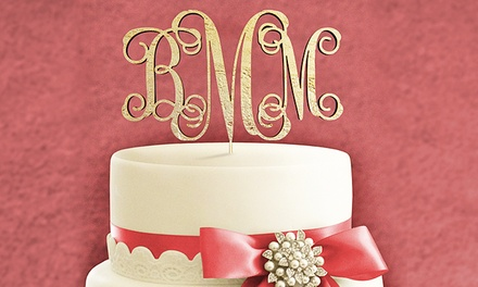 Natural or Painted Three-Letter Monogram Cake Topper from aMonogram Art (50% Off)