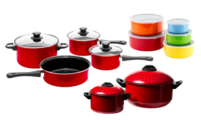 Imperial Home Nonstick Carbon Steel Cookware & Storage Container Set (21-Piece)