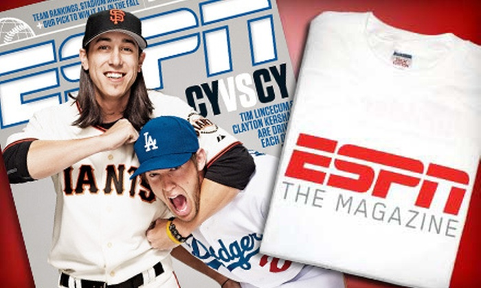 """ESPN The Magazine: $13 for a Sports-Fan Package with a One-Year Subscription to """"ESPN The Magazine"""" and ESPN T-Shirt ($26 Value)"""