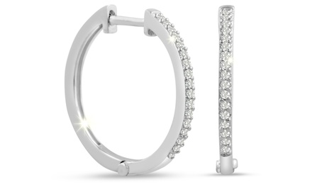 1/4 CTTW Diamond Hoop Earrings in Sterling Silver