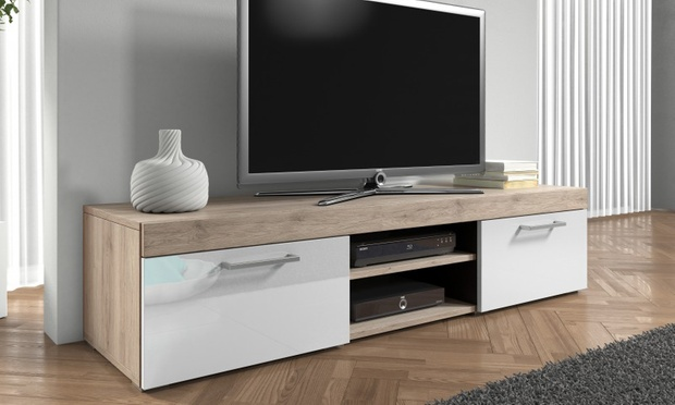 Meuble tv mambo groupon for Meuble tv chene et blanc
