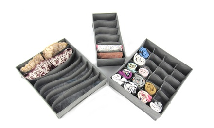 One or Two Three-Piece Drawer Organiser Sets