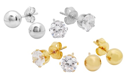 2 Pairs of Ball and Cubic Zirconia Stud Earrings