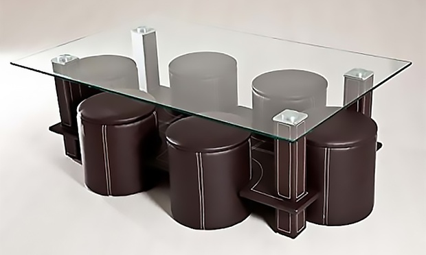 table basse avec 6 poufs groupon shopping. Black Bedroom Furniture Sets. Home Design Ideas