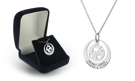 Engraved Christmas Bauble in Ring Necklace in Sterling Silver from SilvexCraft Design