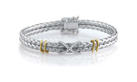 0.16 CTTW Diamond-Accent Weave Bracelet in Sterling Silver