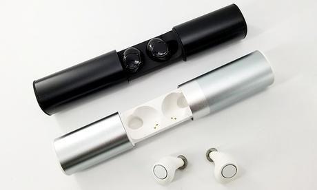 1 o 2 pares de auriculares con Bluetooth con panel cargador portátil