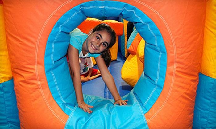 Jump A Roos Inflatable Play & Party Center - Cutler Bay: $23 for Inflatable Fun-House Package for Two with Pizza, Soda, and Arcade Tokens at Jump A Roos ($46.98 Value)