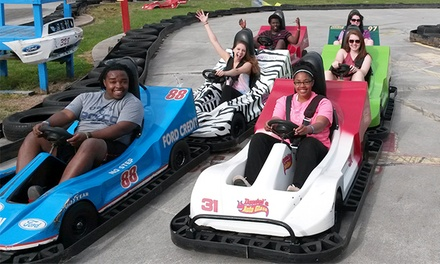 Fun-Park Package for Two or Four with Go-Karts, Mini Golf, and Batting-Cage Tokens at The Zone (Up to 46% Off)