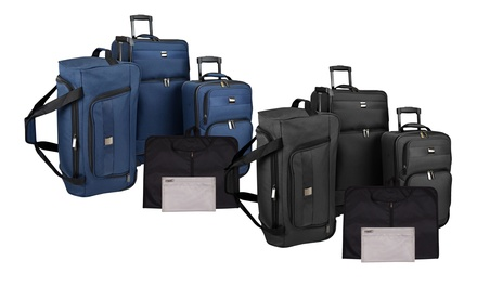 U.S. Traveler 5-Piece Rolling Luggage Set with a Garment Bag, Duffle, and More