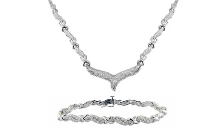 1 CTTW Diamond Necklace and Bracelet Set.