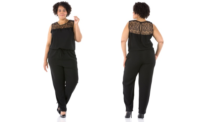 plus size lace-top jumpsuit (size 3x) | groupon
