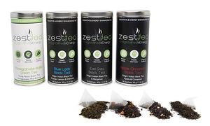 4-tin Sampler Pack Of Energy-boosting Teas From Zest Tea