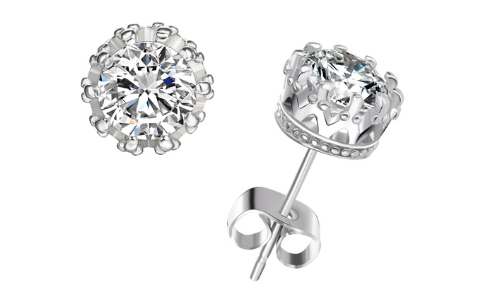 2 00 Cttw Genuine White Topaz Crown Setting Stud Earrings