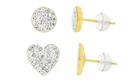 Set of Two Kids' 14K Gold Micro Pave Stud Earrings with Swarovski Elements