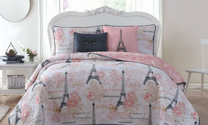 King or Queen Comforter Set Bedding Paris Eiffel Tower Bedspread French Theme