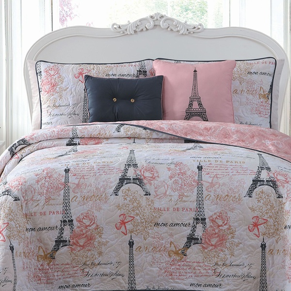 Up To 78 Off On Paris Themed Printed Bedding Set Groupon Goods