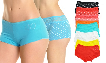 12-Pack of Angelina Women's Boxer Panties or Booty Shorts