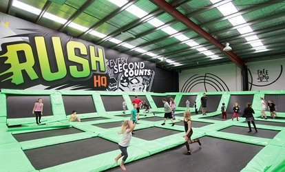 Trampoline Park Pass: Unlimited Midweek Under 110cm ($5), or Fri Night Over 110cm ($10.50) at Rush HQ (Up to $21 Value)