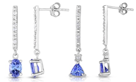 1.30 CTTW Tanzanite & Diamond Earrings