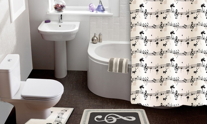 Sheet Music 15 Piece Shower Curtain And Bath Rug Set
