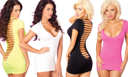 Pink Lipstick Party in the Back Women's Mini Cut-Out Back Dresses