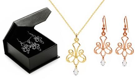 Brincos ou colar modelo Chandelier com cristal por 16,99€ ou conjunto por 24,99€