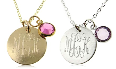 Personalized Monogram Pendant with Birthstone Charm from $12.99–$19.99
