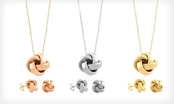 18-Karat Gold-Plated Love-Knot Earrings and Necklace Set: $42.99 for Love-Knot Earrings and Necklace in Pink Gold, White Gold, or Yellow Gold ($249.99 List Price)