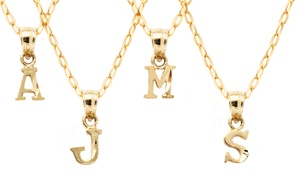 *Limited Time Only* 10K Gold Initial Pendants: *Limited Time Only* 10K Solid Gold Diamond-Cut Initial Pendant with Chain