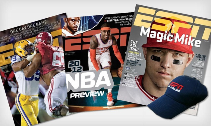 ESPN The Magazine: $14.99 for a One-Year Subscription to ESPN The Magazine and an ESPN Hat ($29.95 Value). Free Shipping.