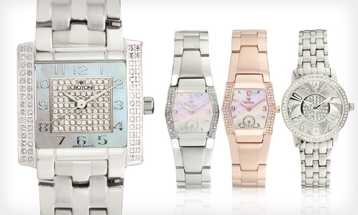 Women's Diamond Croton Watches: Women's Diamond Croton Watch (Up to 84% Off). Four Options Available. Free Shipping.