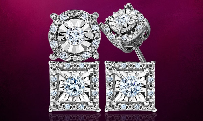 1 4 Cttw Diamond Stud Earrings In Sterling Silver