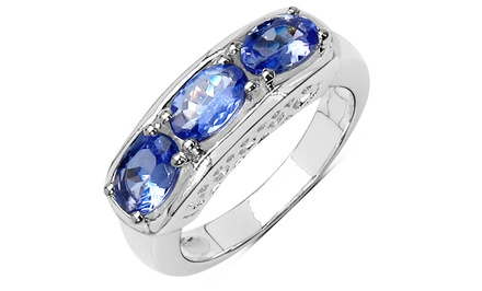 1.32 CTTW Oval-Cut Tanzanite Ring in Sterling Silver