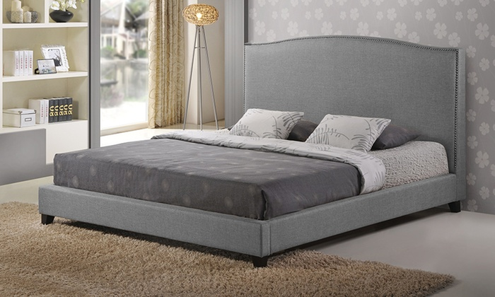 Aisling upholstered platform bed groupon goods for Beds groupon
