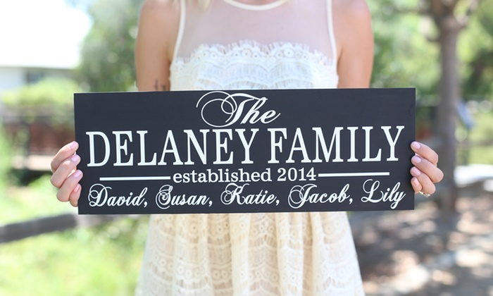 Morgann Hill Designs: One or Two Personalized Family Signs from Morgann Hill Designs (Up to 57% Off)