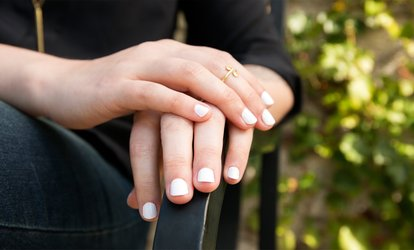image for Le Nu Manicure with Choice of Gel Color, SNS Gelous Color, or Pedicure at Le Nu Spa (Up to 49% Off)