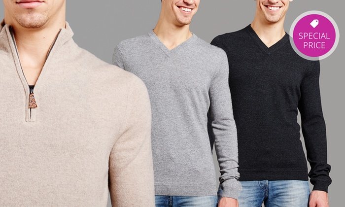 Forte Men's Cashmere Sweaters: Forte Men's V-Neck or Quarter-Zip Cashmere Sweaters from $57.99–$64.99. Multiple Colors Available.
