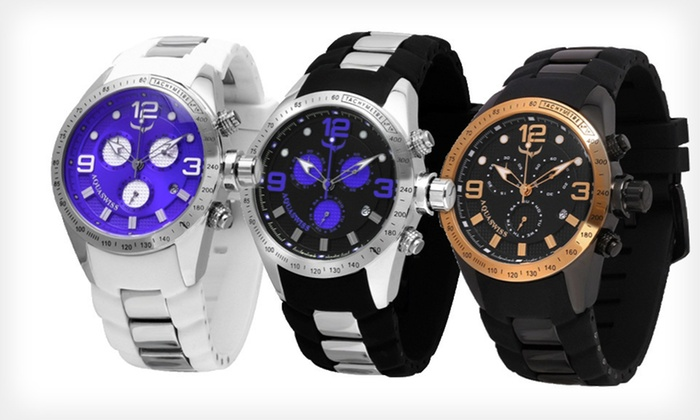 Aquaswiss Trax Six-Hand Watches: $219 for an Aquaswiss Trax Six-Hand Watch ($1,400 List Price). Free Shipping. Six Styles Available.