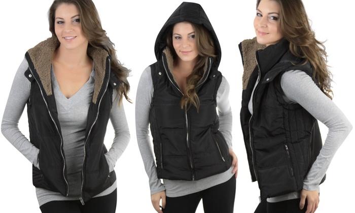 Women's Faux Shearling Lined Hooded Vest (Size M)